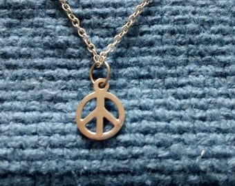 Peace Necklace Sterling Silver Vintage Retro Peace Sign Symbol