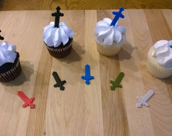 Minecraft Inspired MC Saber CupCake Toppers