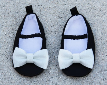 Birthday Baby Girls Shoes Black With White Sparkle Bow Satin Ballet Flat Crib Shoes Occasions Baby Shoes