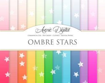 Ombre Stars Digital Paper. Scrapbooking Backgrounds, gradient patterns for Commercial Use. Dip Dye Rainbow gradients. Instant Download.