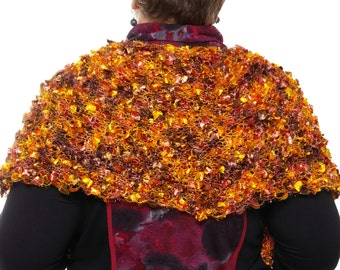 Luxurious large  golden - brown - orange - red scarf/shawl on the shoulders hand knitted