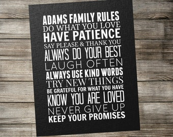 Personalized Family Rules Subway Wall Art - Printable Home Decor - Custom Digital Download 11x14