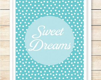 Sweet Dreams Nursery Wall Art, Nursery Decor, Nursery Printable, New Baby Gift, Playroom Decor, Wall Art, Polka Dot, Aqua, coffeeandcoco