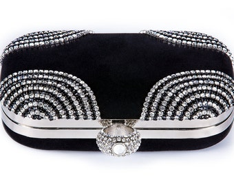 Black wedding clutch, Bridal clutch, Champagne clutch, evening bag, Modern clutch, bridesmaid bag, crystal clutch c2