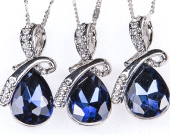 SALE 15% OFF SET of 5 Wedding Jewelry Bridesmaid Jewelry Bridal Necklaces Bridesmaid Ocean Blue Sterling Silver Zircon Stones nst 33