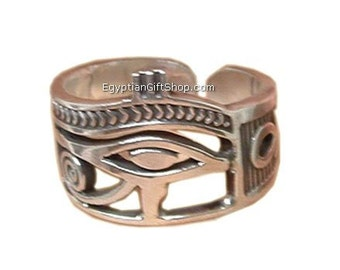 "Eye of Horus / Ankh ""Adjustable Silver Ring -  Egyptian Jewelry"