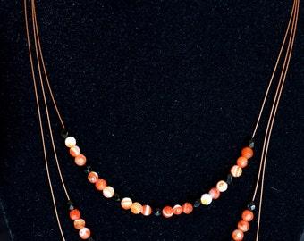 Carnelian & Black Onyx Triple-Strand Necklace