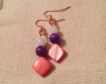 Coral Purple and White Bead Earrings