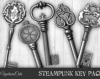Victorian Steampunk Vintage Keys Digittal Collage  - Antique Printable Graphics Clipart - Instant Digital Download Image.