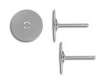 10-100pcs--Earring Posts, Stainless Steel, Flat Pad 10mm (B5-13)