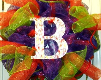 Made to Order, monogram wreath, initial letter wreath, wood letter door decor, personalized wreath, letter B wreath