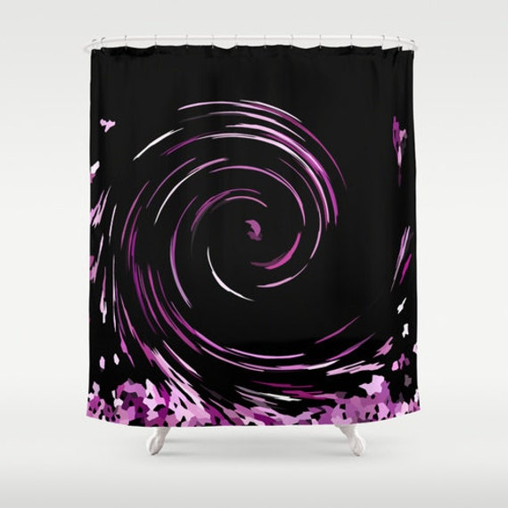 Items similar to black shower curtain purple shower for Pink and black bathroom accessories