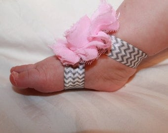 Baby Barefoot Sandals, Pink and Gray Chevron Baby Sandals, Newborn Sandals, Toddler Sandals, Shabby Flower Sandals