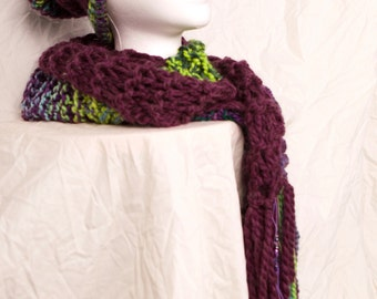 You're the Scarf! Made to pair with my You're the One! hand knit hat, in red-violet & multi