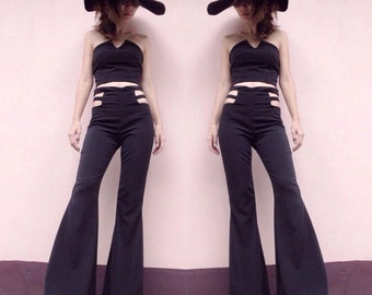 Women's black/white high waisted flared bell bottom pant - vintage 70s fashion