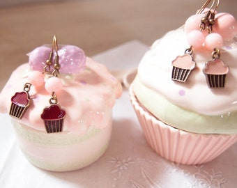 Cupcake Pendant Earrings-cupcake Jewelry-Dolcetto Earrings-Birthday Jewelry-gift for greedy friend-Valentine's Day gift