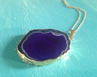 "24k Electroplated Purple Agate Necklace w/ 14k Gold Filled Chain 20"" or 30"""