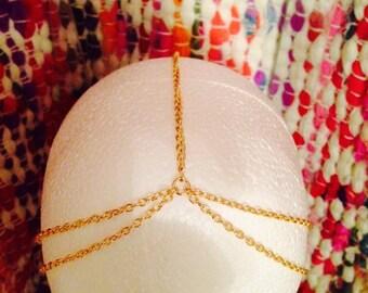 Simple Gold Double Head Chain // Hair Chain // Boho // Gypsy // Festival