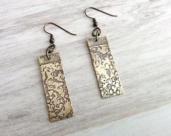 Etched Brass Earrings/Antiqued Brass Earrings/Etched Brass Jewelry/Oxidized Brass Earrings/Abstract Earrings/Abstract