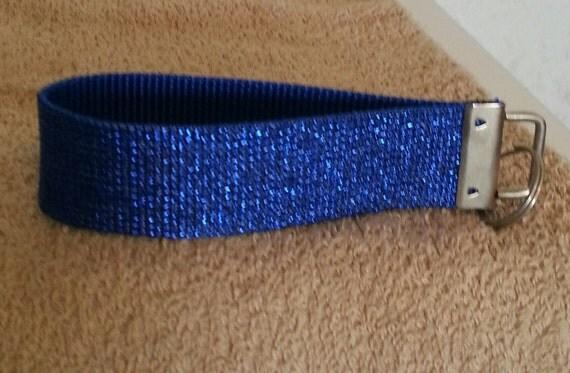 Sparkly Colbalt Blue Metallic Webbing  Key Fob