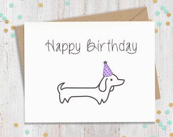 Wiener Dog Birthday, Dachshund Birthday, Dog Birthday Card, Funny Birthday Card, Funny Birthday Cards, Wiener Dog Card, Puppy Birthday Card