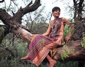 Large - Rio Grande, Hand Made Vintage Kantha Maxi Fabric Dress Made of Saree Borders