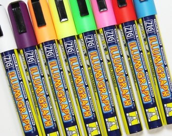 Pack of 8 6mm Illumigraph Wet Wipe Chalkpens Mixed Colours - Chalkboard Marker - Chalk Ink -  Fluorescent Colour