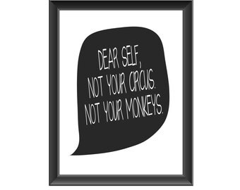 Inspirational Typography Print, Dear Self Quote, Motivational Decor, Inspirational Quote, Wall Decor, Home Decor, Gift