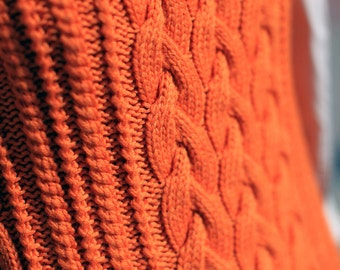 hand knitted chunky cable knit  sweater