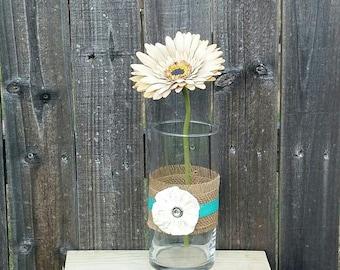Burlap Vase Lace Flower, Centerpiece, Wedding Centerpiece,Homedecor, Table Decor.