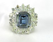 Blue Sapphire and Rhinestone Large Costume Ring