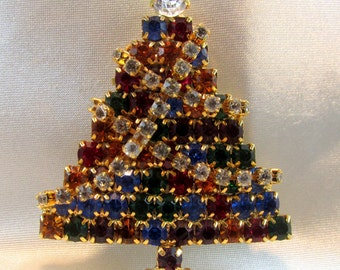Rhinestone Christmas Tree Brooch  with Moveable Garland