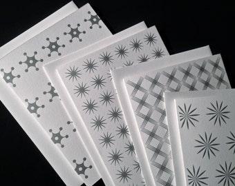"Letterpress Stationary Notecards, 8 cards/envelopes, 4 patterns, gift set, ""Silver Stars"""