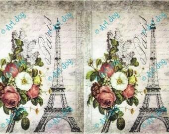 Decoupage paper Paris, Eifel tower, decoupage sheet, collage sheet, scrapbooking sheet, book cover, vintage, pale , rose, France, die cuts
