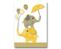 Neutral nursery artwork nursery wall art yellow grey elephant poster baby girl room art baby boy room decor baby shower gift kids room decor