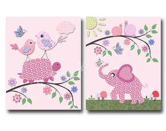 Elephant nursery decor, pink turtle nursery wall art for baby girl room decor play room decor nursery artwork kids room decor children art
