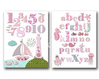 Pink nautical nursery decoration pink ocean nursery art nursery alphabet print baby girl room decor abc decor number artwork kids room art