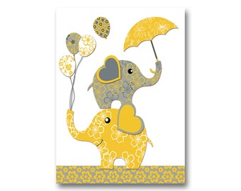 Neutral nursery artwork nursery wall art yellow grey elephant poster baby girl room art baby boy room decor baby shower gift kids room decor