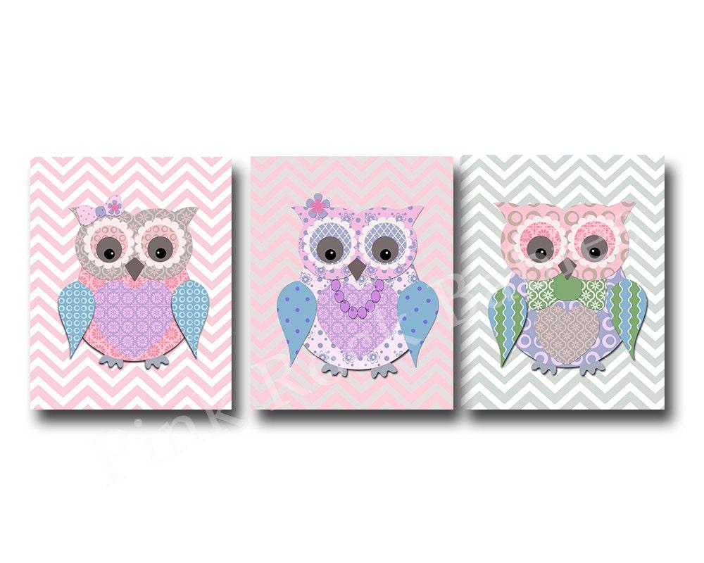 Pink Owl Family Nursery Decor Kids Room Decor Play Room
