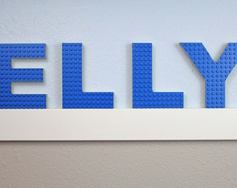 "Lego Letter// 4.75"" High // Ariel Bold Font // Baltic Birch Wood // Blue, Green and Grey Lego Build Plate"