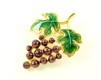 Grape Bunch Brooch Colorful Crystal Gold Grape Broach Jewelry