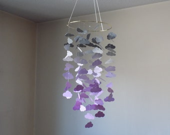 Purple and Gray cloud mobile with a hint of dk gray sparkle. Baby Nursery mobile, Crib mobile,Happy Birthday, Boy, Girl mobile, Baby Shower
