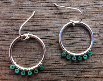 Earrings with turquoise and silver