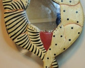Art Deco Hand Painted Crazy Cat Hand Mirror for Dresser