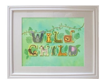 Wild Child Typography Print, Green