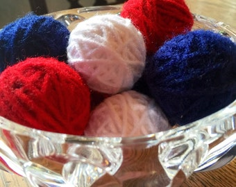 red white and blue yarn balls, deco balls, vase filler, bowl filler, Fourth of July decoration, Memorial Day decoration