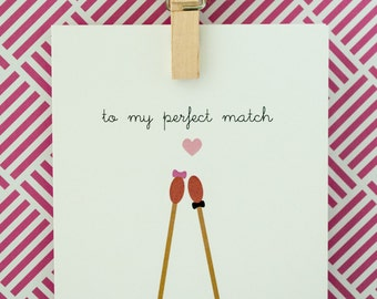 Perfect Match Card - Valentine's Day, Birthday, Love, Anniversary Card