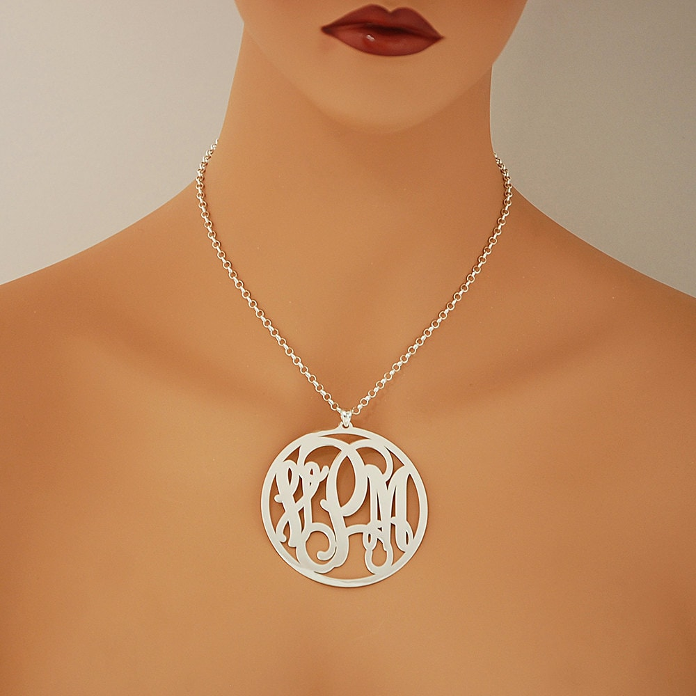 Extra large sterling silver 3 initials circle monogram for Jh jewelry guarantee 2 years