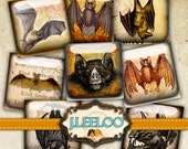 Digital collage sheet SPOOKY BAT 1 inch square for goth scary halloween bat skull raven pendant - craft instant download printable - qu380