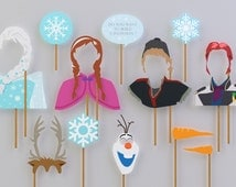 SALE - 80% OFF Frozen Props Complete Characters for Frozen Birthday Party. Instant Download Frozen Printables. DIY Frozen photobooth props..